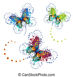 Stylized butterflies with twigs curls isolated on white...