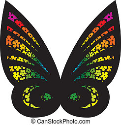 Stylized butterfly filled with flowers