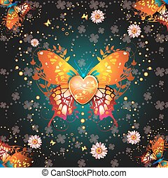 Stylized butterfly with heart