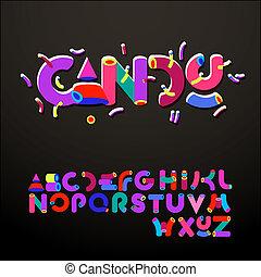 Stylized candy-like alphabets, vector Eps10 illustration.