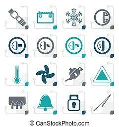 Stylized Car Dashboard icons -