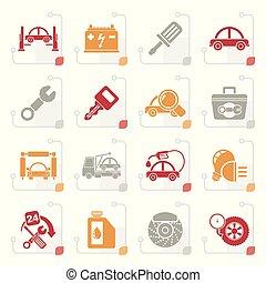 Stylized Car service maintenance icons