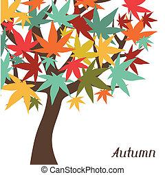 stylized, card., árvore, saudação, outono, fundo