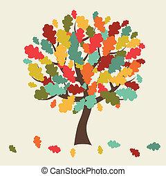 stylized, card., folhas, árvore, saudação, outono, queda