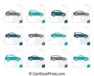 stylized, carros, diferente, tipos, ícones