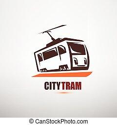 stylized cartoon tram symbol, city transport logo template