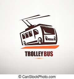 stylized cartoon trolleybus symbol, city transport logo ...