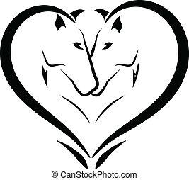 stylized, cavalos, amor, logotipo