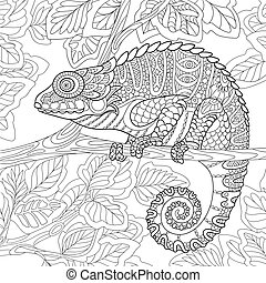 Stylized cartoon chameleon sitting on a tree branch. Freehand sketch for adult anti stress coloring book page with doodle and zentangle elements.
