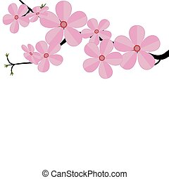 Stylized cherry Japan cherry branch with blooming flowers illustration