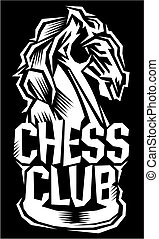 chess club - stylized chess club logo with knight for...