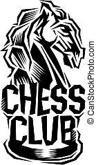 chess club - stylized chess club logo with knight for school...