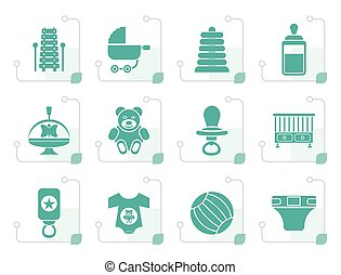 Stylized Child, Baby and Baby Online Shop Icons
