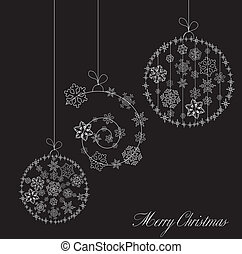 Stylized Christmas Balls, On Black card. Vector