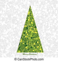 Stylized Christmas card with Christmas tree