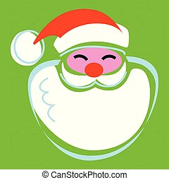 Stylized Christmas Santa graphic green background treatment