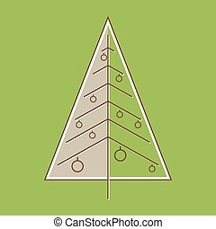 Stylized Christmas tree in retro style