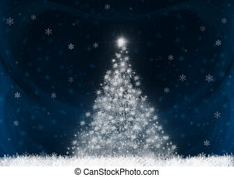 Stylized Christmas tree on dark blue background