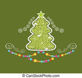 Stylized Christmas tree on the green background