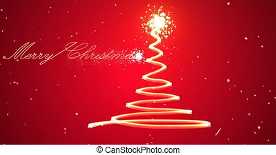 Stylized Christmas tree with falling fireworks from...