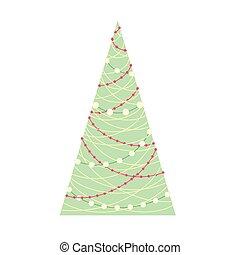 Stylized Christmas tree with on white background