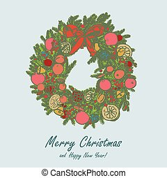 stylized christmas wraith - hand drawn vector Christmas ...