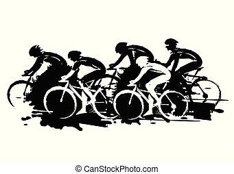 stylized., ciclismo, expresivo, carrera