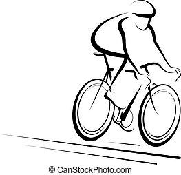 stylized, ciclista, macho