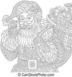 stylized, claus, kerstman, zentangle