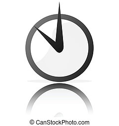 Glossy illustration of a stylized clock, reflected on a white surface