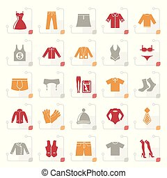 Stylized Clothing and Fashion collection icons