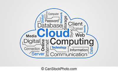 concept of cloud computing - stylized cloud with words about...