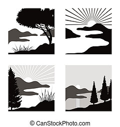 stylized coastal landscape illustrations fot usage as...