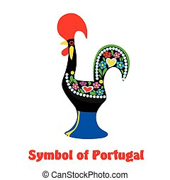 Stylized cock. Symbol of Portugal. Colored vector illustration on white