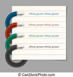 Stylized colored writing pen design for infographics,step presentation, web design