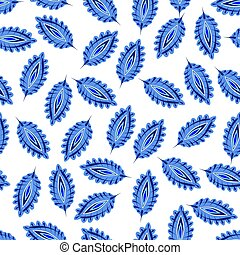 Stylized colorful leaves seamless pattern. Folk boho universal texture. Hand drawn vector decorative floral ornamental background