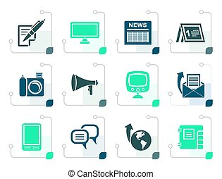 Stylized Communication channels and Social Media icons