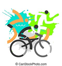 stylized, competitors., triathlon, grunge, três