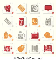 Stylized Computer part icons - vector icon set