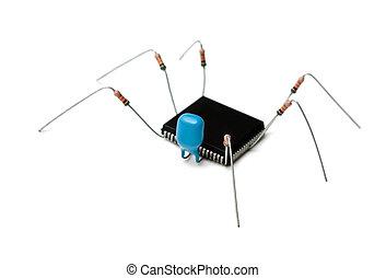 computer virus - stylized computer virus of electronic...