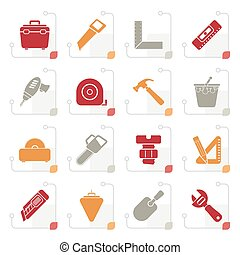 Stylized Construction objects and tools icons