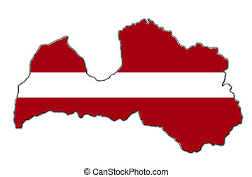 Stylized contour map of Latvia - Outline map of Latvia...