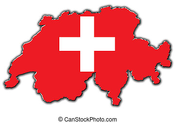 Stylized contour map of Switzerland - Outline map of...
