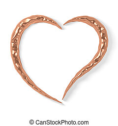 stylized copper heart - Stylized copper heart with dents,...