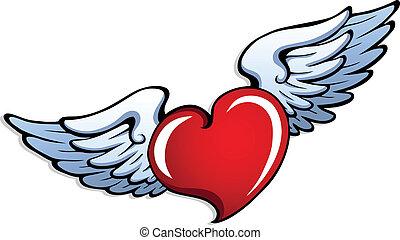 stylized, coração, 1, asas
