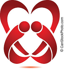 stylized, coração, par, logotipo