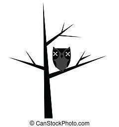 stylized, coruja, abstratos, árvore