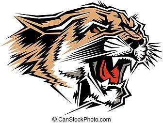 cougar mascot head - stylized cougar mascot head for school...