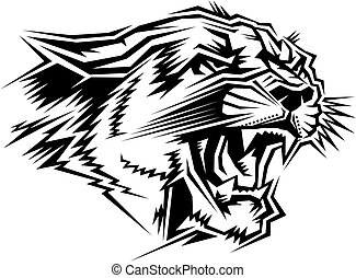 cougar mascot head - stylized cougar mascot head for school...