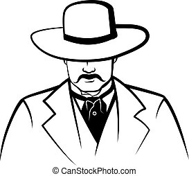 Stylized Cowboy with Wide Brim Hat - A stylized line...